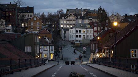 Panorama of Trondheim city at night, Norway