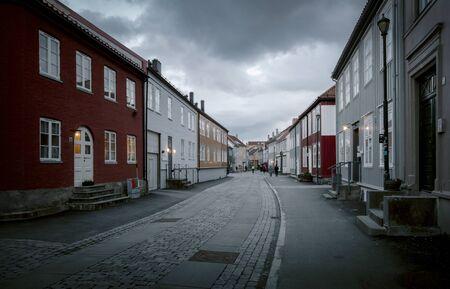 Street of old town in Trondheim, Norway
