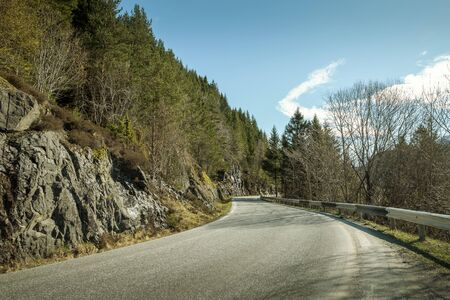 Switchback mountain road in Norway