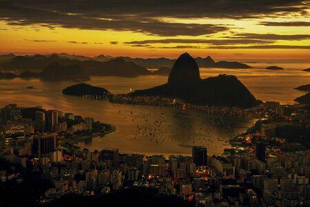 Rio de Janeiro city at sunset, Brazil Фото со стока