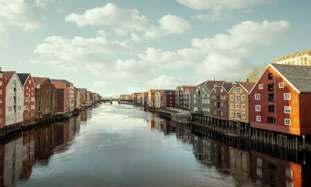 Colorful wooden houses in Trondheim city, Norway