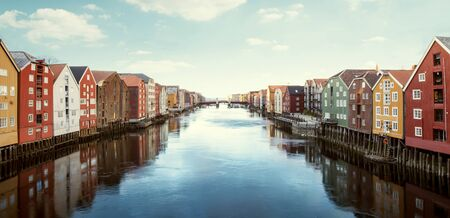 Colorful wooden houses in Trondheim, Norway