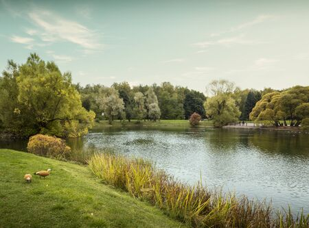 Ostankino public city park in Moscow, Russia