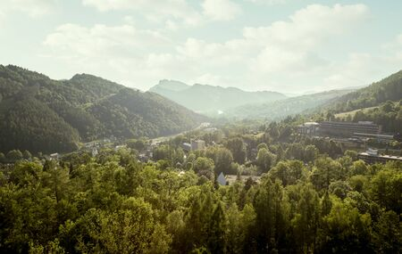 Aerial panorama of Szczawnica town and Pieniny mountains, Poland Фото со стока