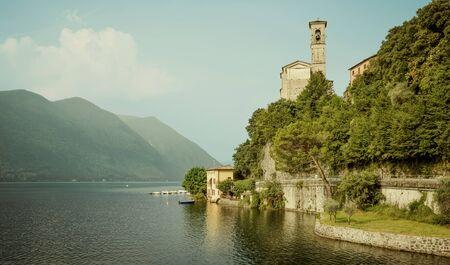 Scenery of Lugano lake in Switzerland Фото со стока