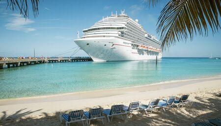 Cruise ship at the beach on Grand Turk island