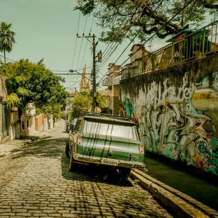 Rio de Janeiro, Brazil - December 18, 2017: Vintage car on a street in Rio de Janeiro, Brazil