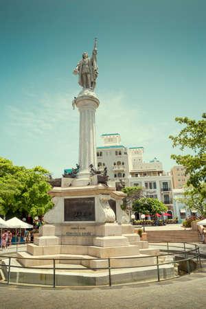 San Juan, Puerto Rico - June 25, 2015: Christopher Columbus monument in old San Juan, Puerto Rico Редакционное