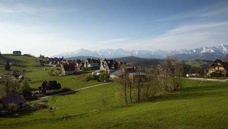 Panorama of Gliczarow Gorny with Tatra mountains in the background, Poland