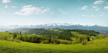 Panorama of snow capped Tatra Mountain on Podhale in Poland Фото со стока