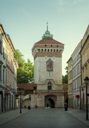 St. Florian's Gate in old town of Krakow city, Poland Фото со стока