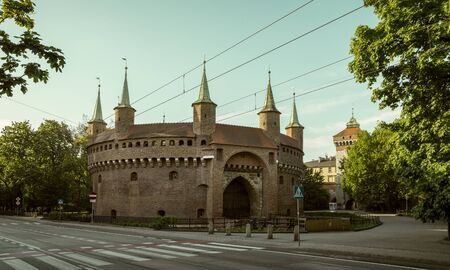 Barbican and St. Florian's Gate in Krakow city, Poland Фото со стока