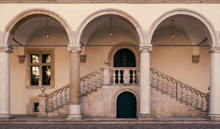 Royal arcade courtyard on Wawel castle in Krakow city, Poland