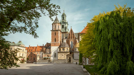 Panorama of Wawel castle cathedral in Krakow city, Poland
