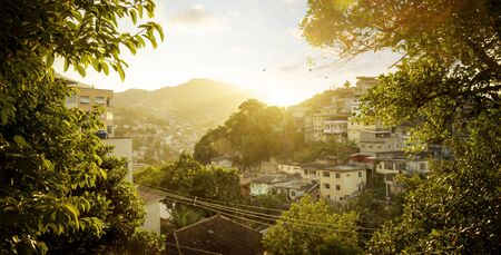 Favela at sunset in Rio de Janeiro, Brazil