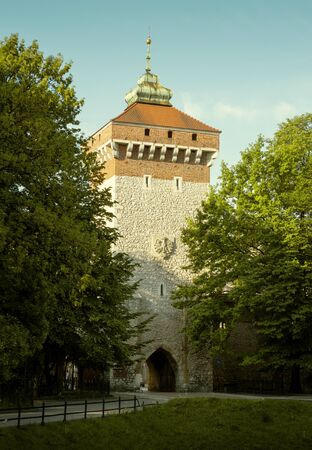 St. Florian's Gate in Krakow old town, Poland Фото со стока