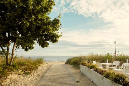 View on the beach of Baltic sea in Poland