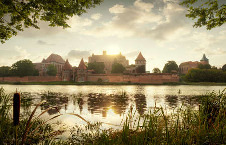 Panorama of medieval teutonic castle in Malbork, Poland