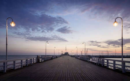 Panorama of pier and Baltic see in Sopot city, Poland