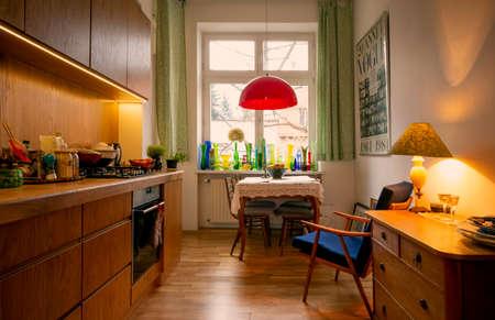 Krakow, Poland - January 30, 2018: Modern design of home kitchen, interior design Редакционное