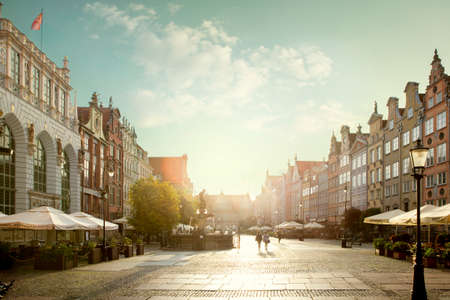Gdansk, Poland - October 05, 2020: Cityscape panorama of old town of Gdansk city, Poland