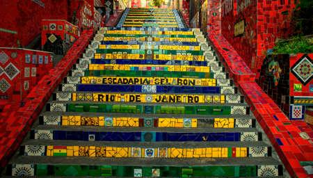 Rio de Janeiro, Brazil - December 16, 2017: Colorful Escadaria Selaron in Rio de Janeiro, Brazil Редакционное