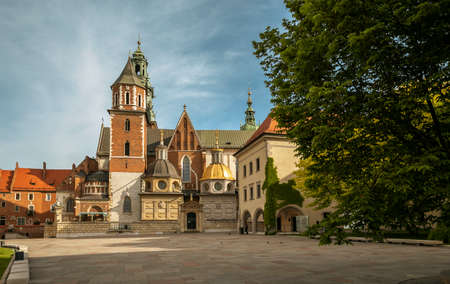 Krakow, Poland - May 11, 2020: Panorama of Wawel castle cathedral in Krakow city, Poland
