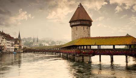 Panorama of Lucerne old town with Chapel Bridge and Water Tower