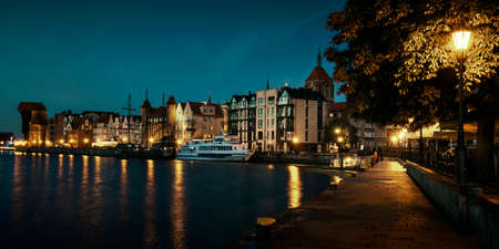 Old town of Gdansk city at Motlawa river by night, Poland