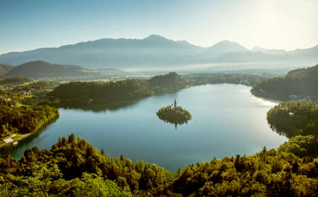 Bled lake and Julian Alps in Slovenia