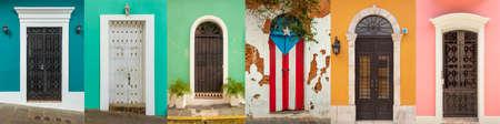 Collage of colorful door in old San Juan, Puerto Rico Фото со стока