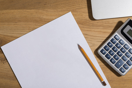 Desk math computer calculator Stock Photo - 115927185