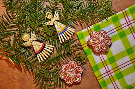 Ginger cookies lie on a wooden background. Christmas sweetness.