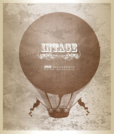 Vector card with unique design element for t-shirt design, decoration, prints and posters. Sketch of air balloon. Vintage lettering
