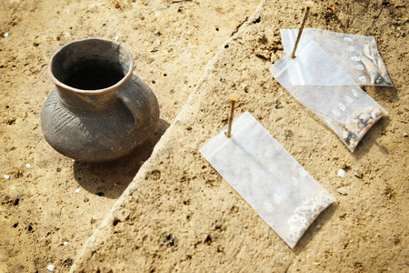 archeological: Clay pot, archeological excavations Stock Photo