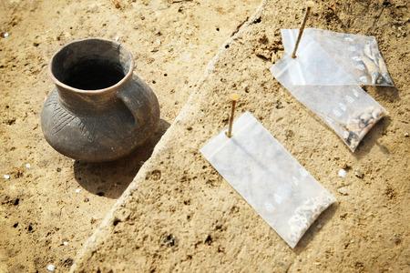 Clay pot, archeological excavations Archivio Fotografico