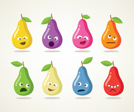 Crazy pears. A set of eight emotional pears, illustration