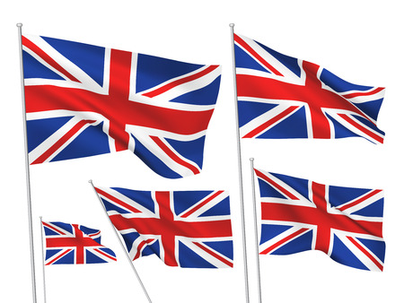 Great Britain (UK) flags. A set of 5 wavy 3D flags created using gradient meshes