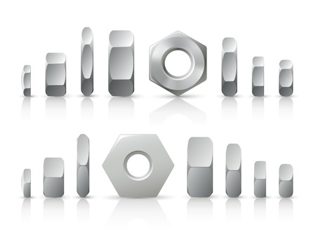 threaded: Metallic nuts. A set of different metallic nuts in different projections Illustration