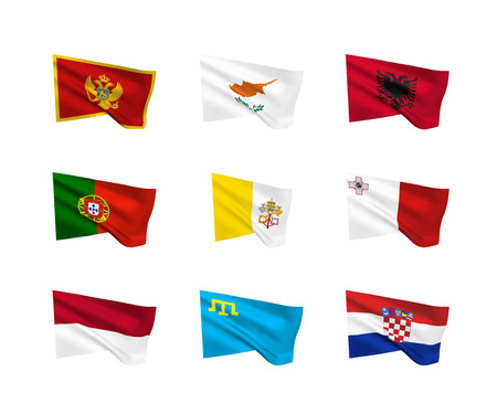 Vector flags (South European countries). A set of 9 wavy 3D flags created using gradient meshes. EPS 8 vector Illustration