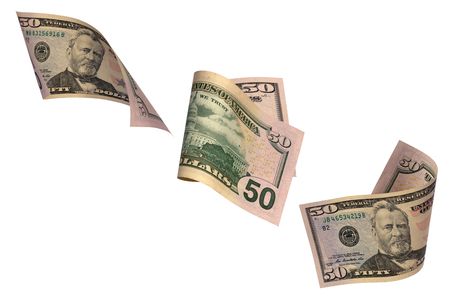Drei Varianten eines Fünfzig-Dollar-Scheines lokalisiert auf einem weißen Hintergrund Standard-Bild