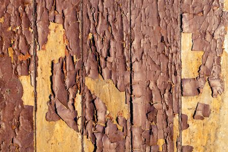 Macro yellow and brown cracked paint paint is severely weathered, damaged concrete rough texture on wooden wall. Peeling paint on wall seamless texture. Pattern of a rustic blue grunge material