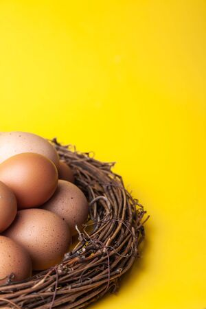 Macro brown Easter eggs in wicker nest on yellow background, vertical image with copy space and place for text Banco de Imagens