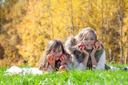 Cheerful sisters with red apples on picnic