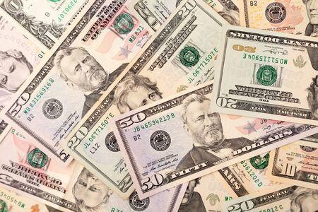 American dollars bills background, concept global financial crisis Archivio Fotografico