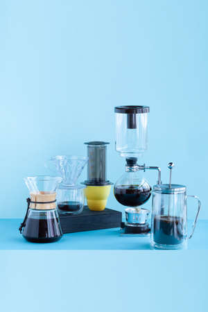 Alternative coffee brewing methods pour over coffee maker, aeropress, french press, filter coffee, siphon