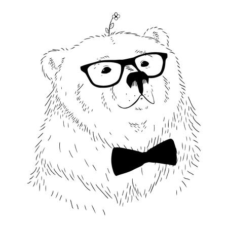 Vector illustration hand drawn bear head.