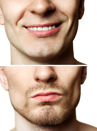 Portrait of a young man befor and after shaving photo