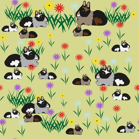 Pattern seamless of guinea pigs and colors - illustration