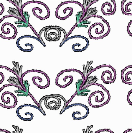 Vector seamless texture of patterned lilac, green and gray. Vector